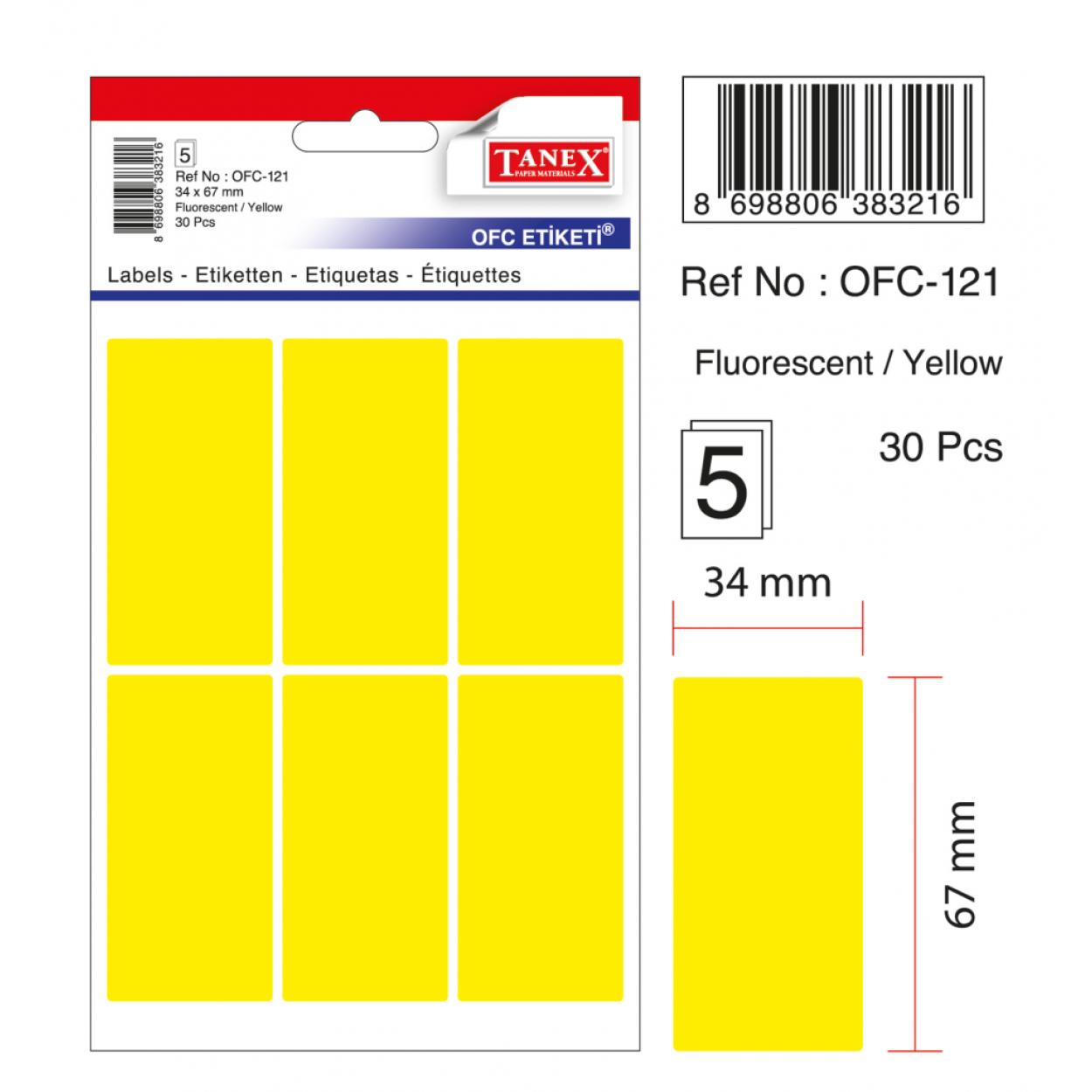 Tanex Ofc-121 Flo Sarı Ofis Etiketi