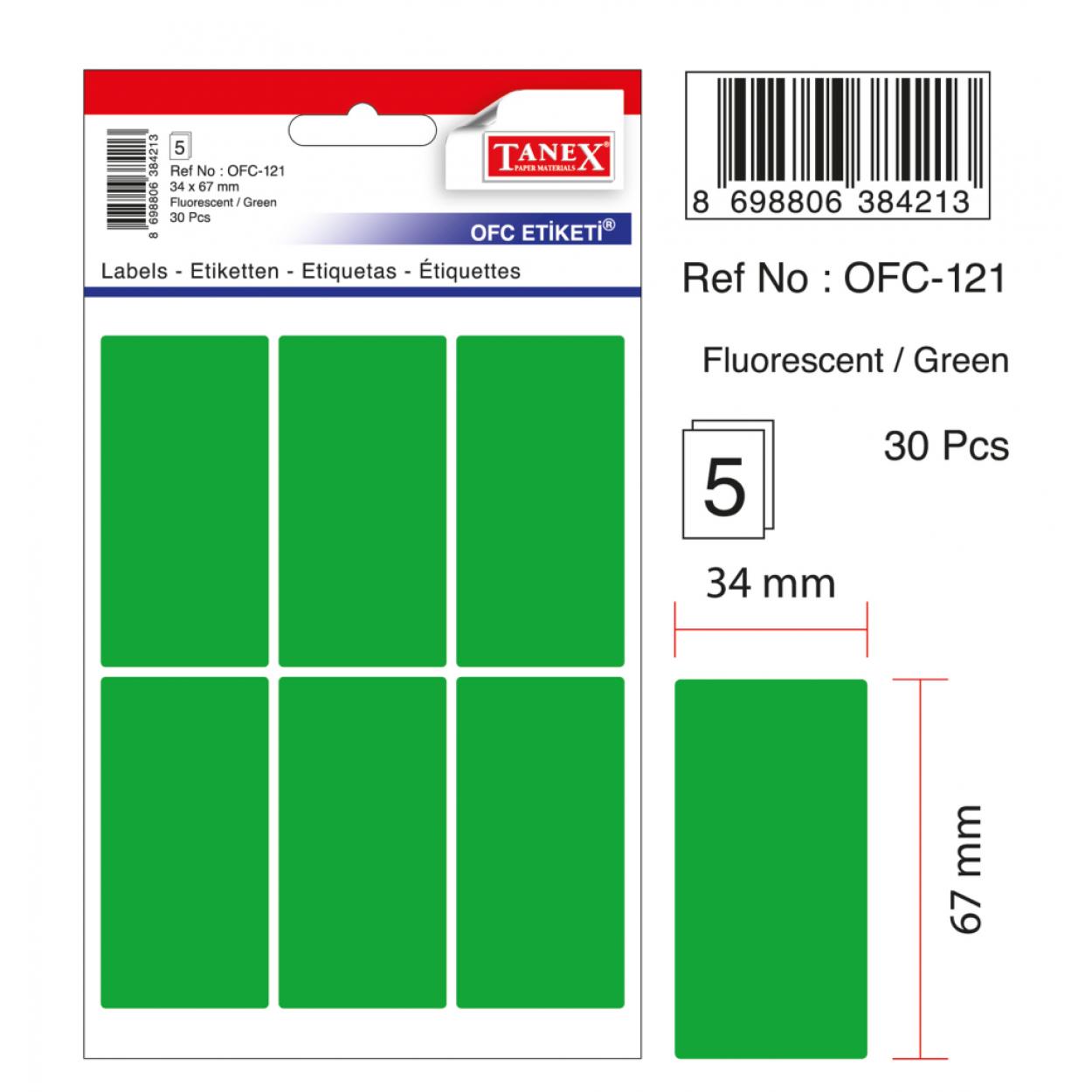 Tanex Ofc-121 Flo Yeşil Ofis Etiketi