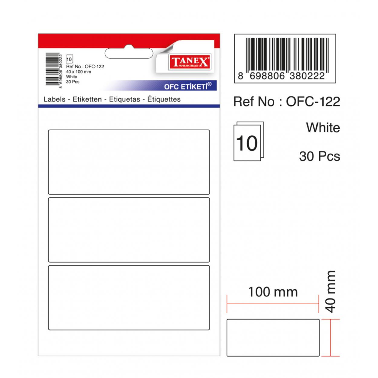 Tanex Ofc-122 Beyaz Ofis Etiketi