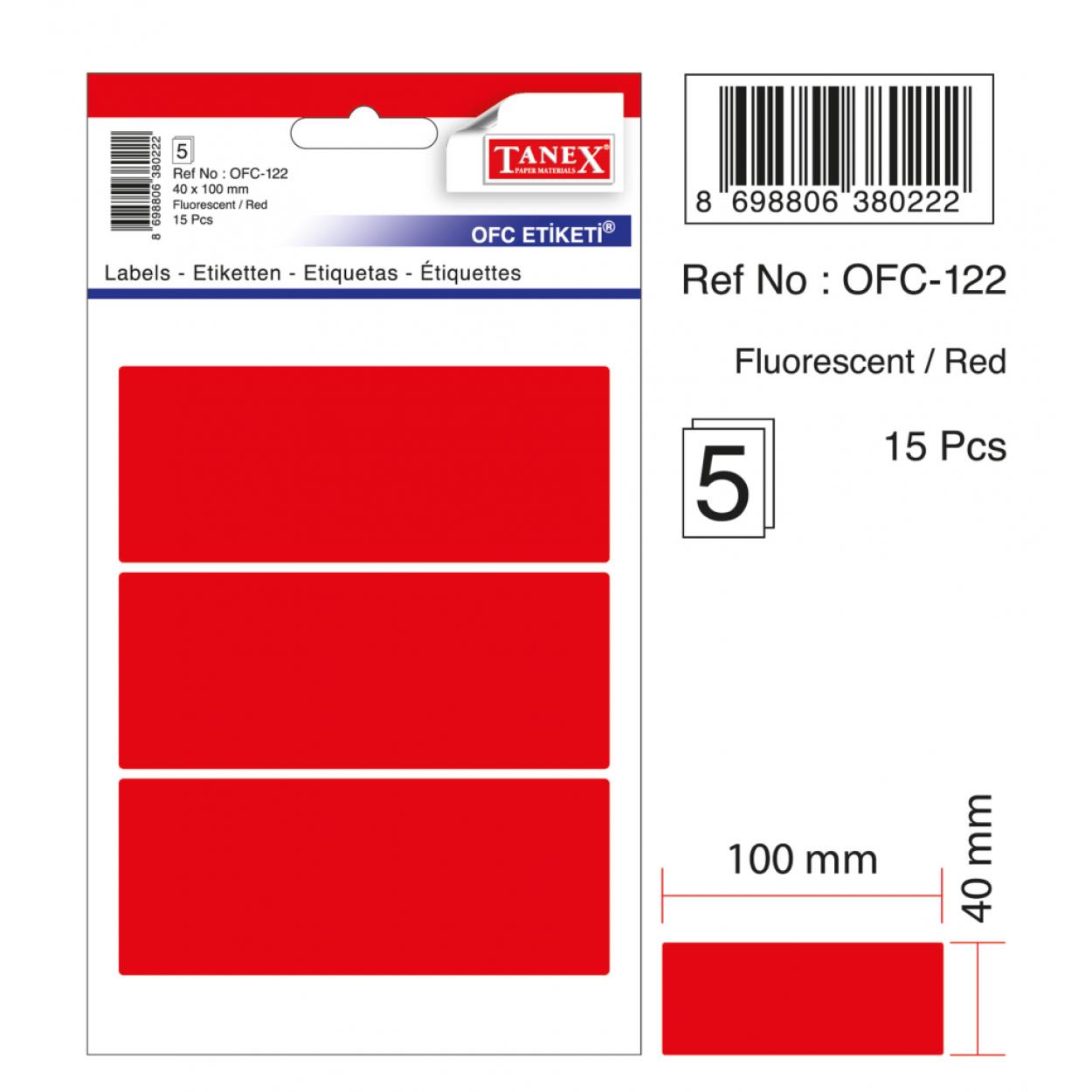 Tanex Ofc-122 Flo Kırmızı Ofis Etiketi