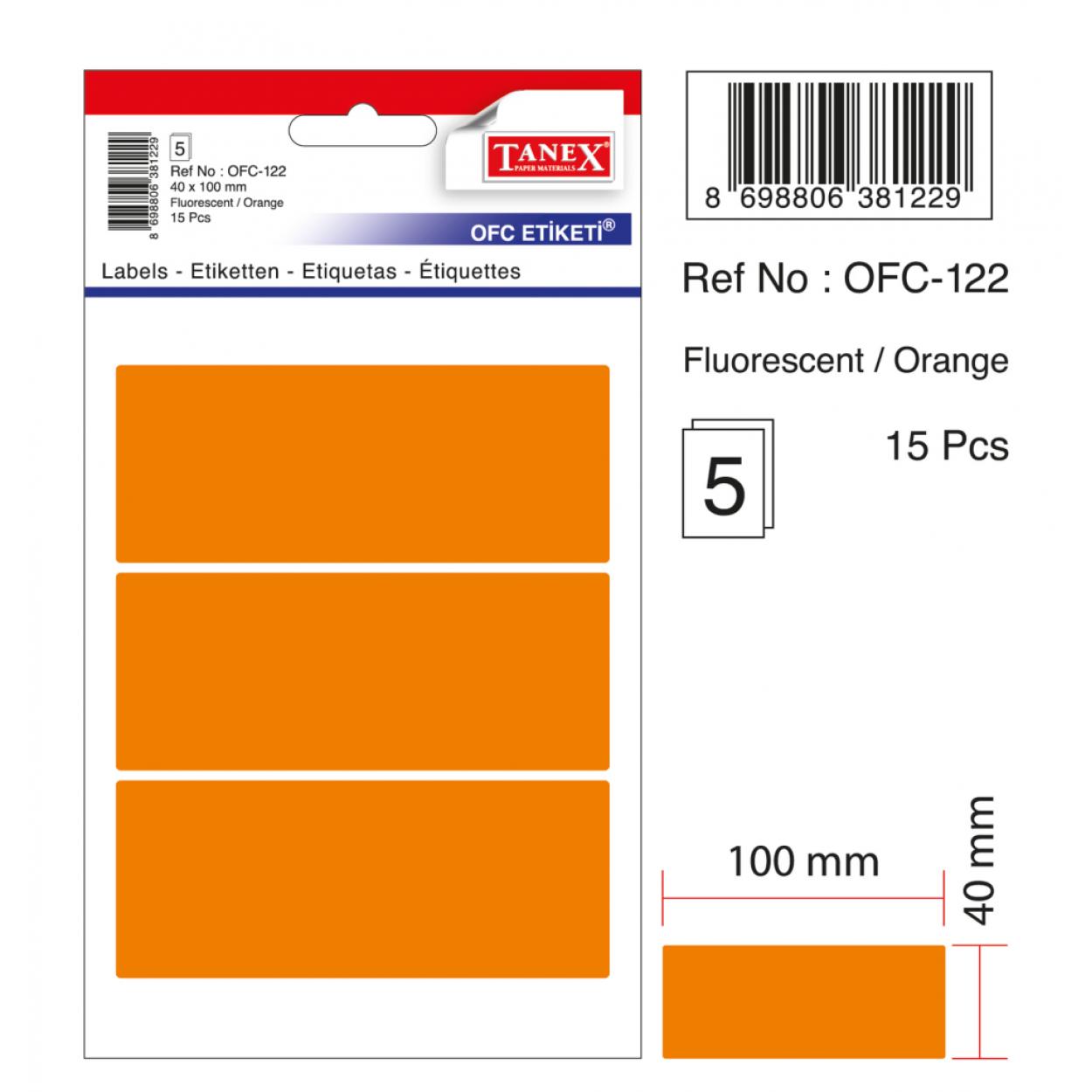 Tanex Ofc-122 Flo Turuncu Ofis Etiketi