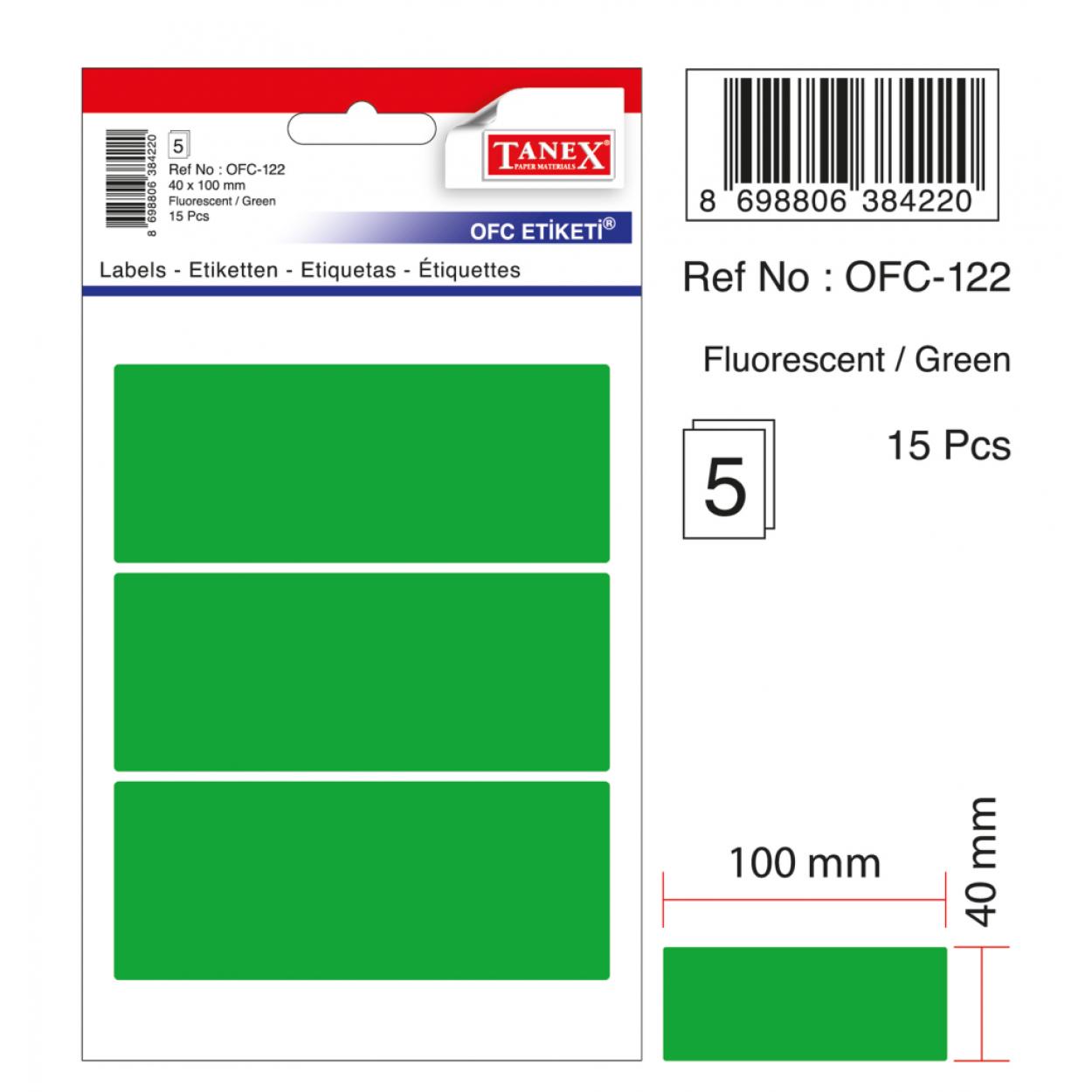 Tanex Ofc-122 Flo Yeşil Ofis Etiketi