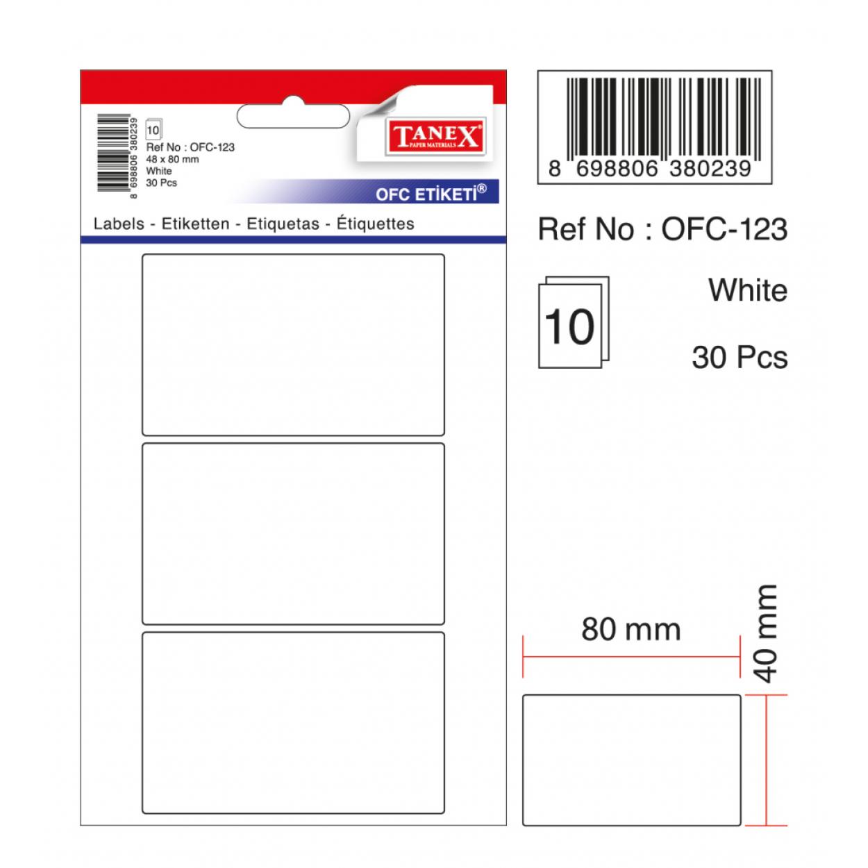 Tanex Ofc-123 Beyaz Ofis Etiketi