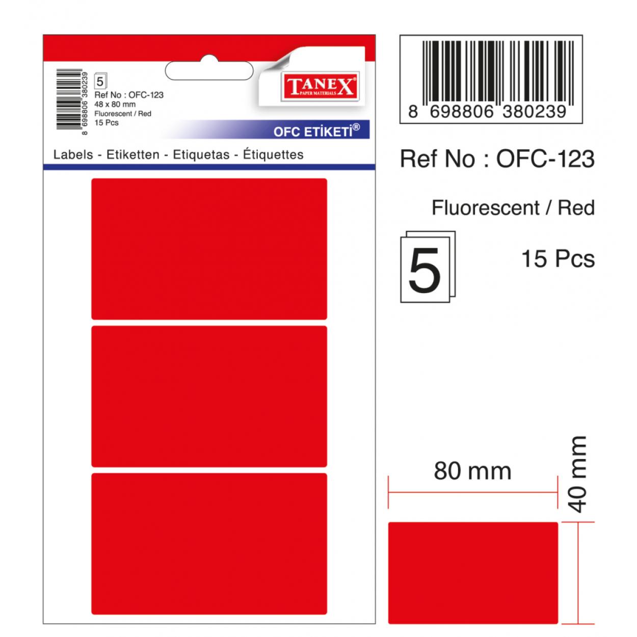 Tanex Ofc-123 Flo Kırmızı Ofis Etiketi