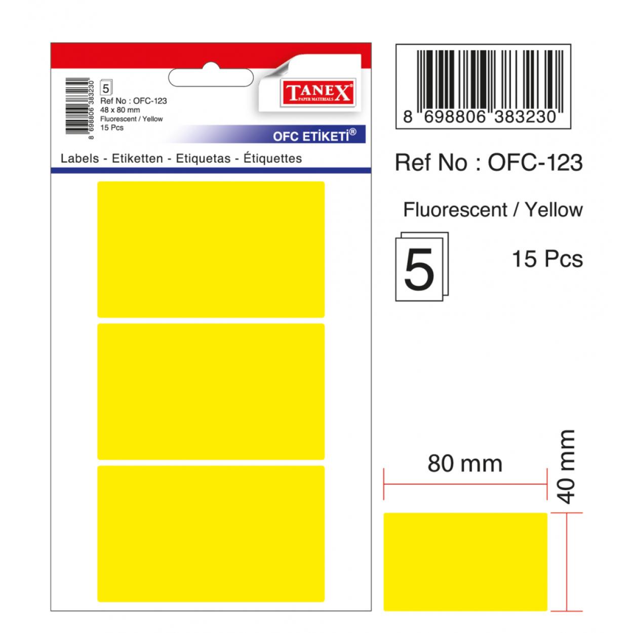 Tanex Ofc-123 Flo Sarı Ofis Etiketi