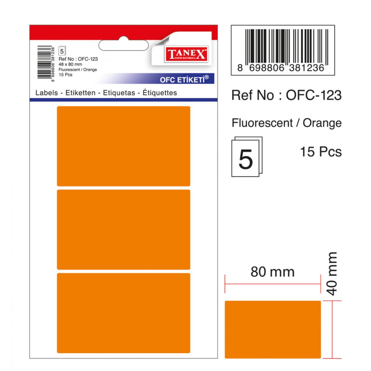 Tanex Ofc-123 Flo Turuncu Ofis Etiketi