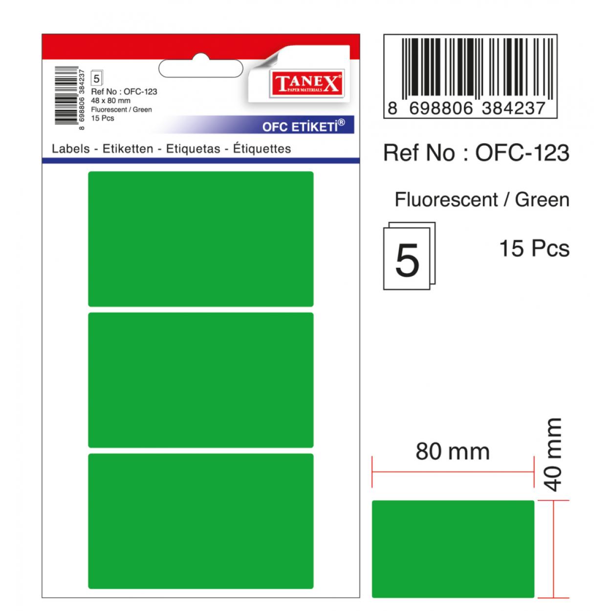 Tanex Ofc-123 Flo Yeşil Ofis Etiketi