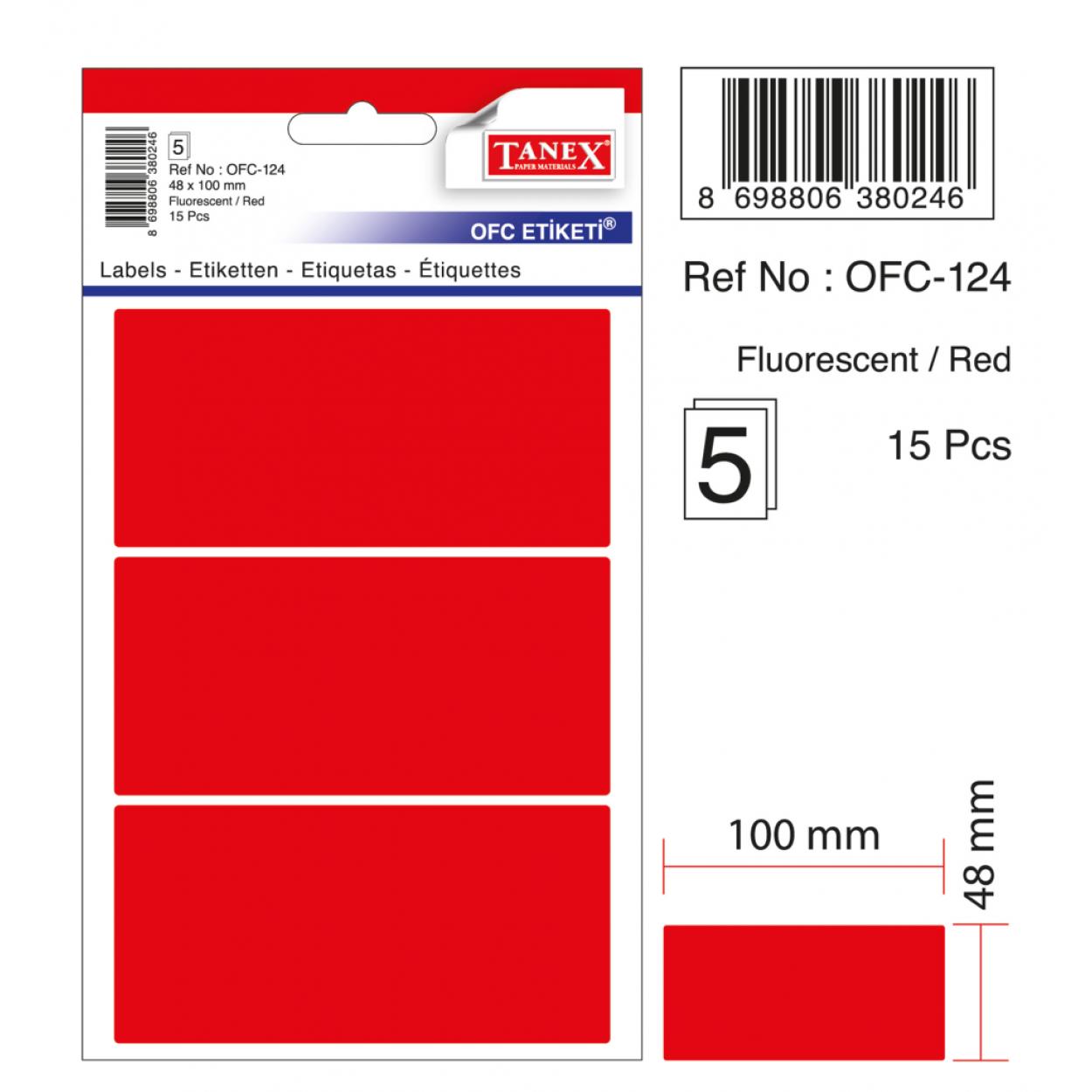 Tanex Ofc-124 Flo Kırmızı Ofis Etiketi