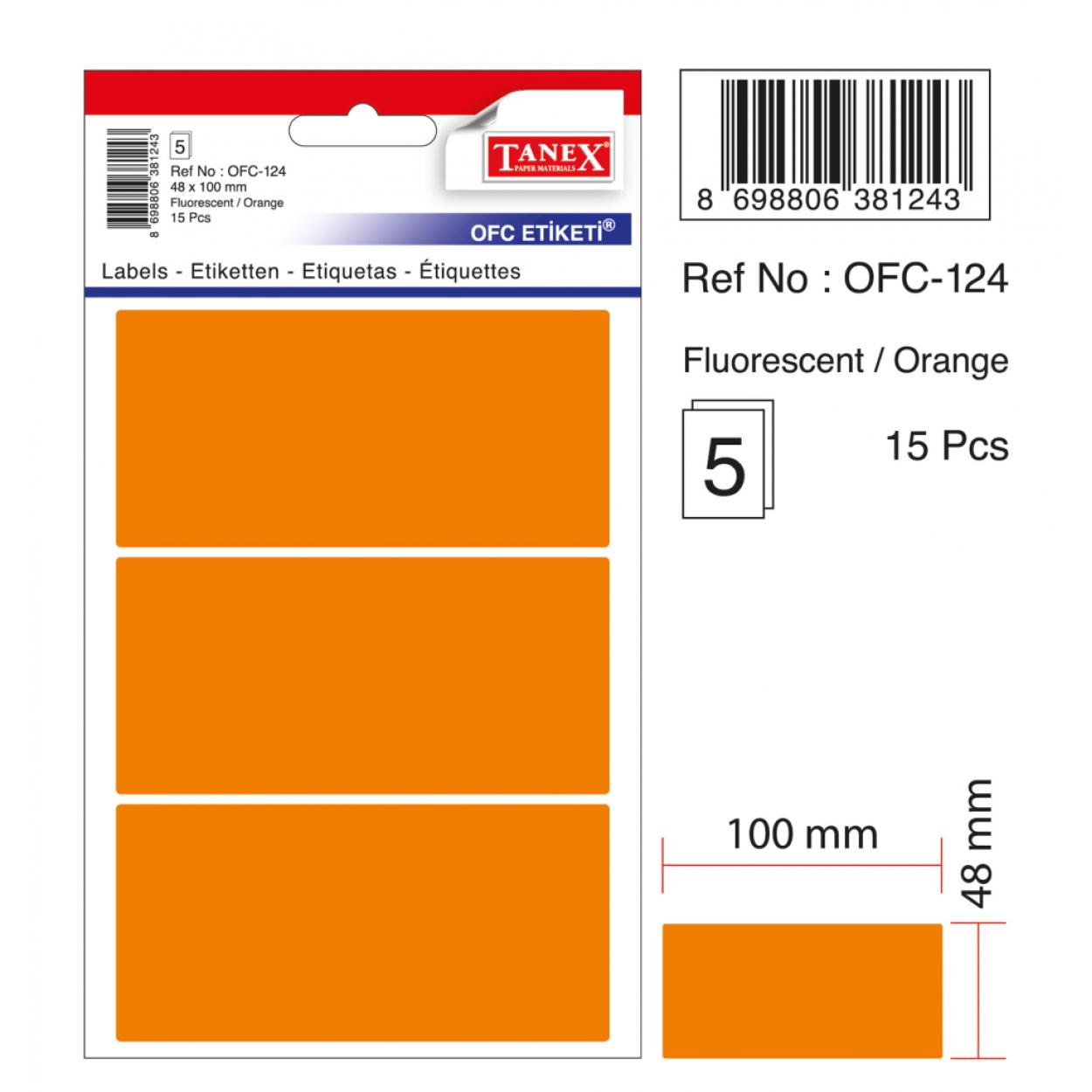 Tanex Ofc-124 Flo Turuncu Ofis Etiketi