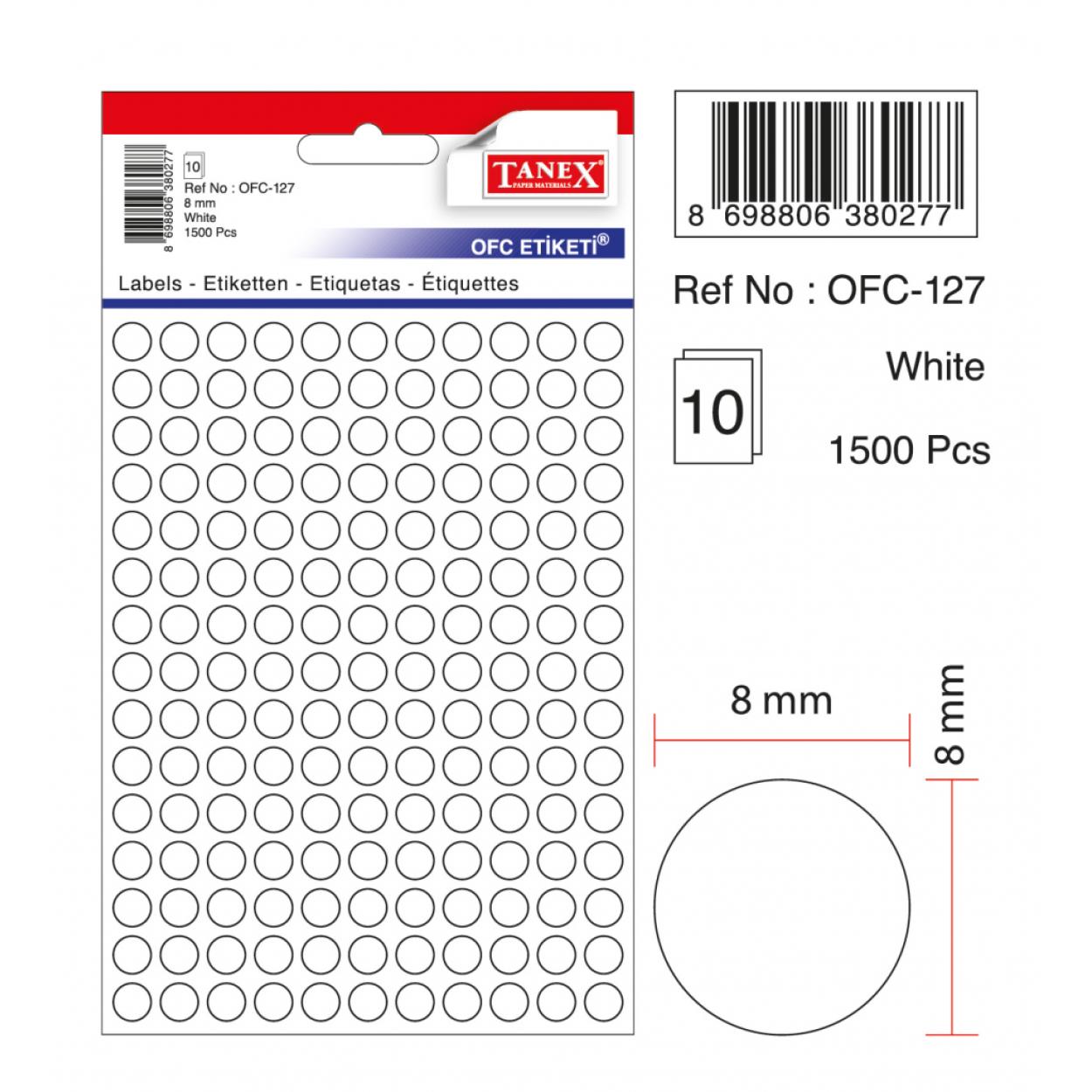 Tanex Ofc-127 Beyaz Ofis Etiketi