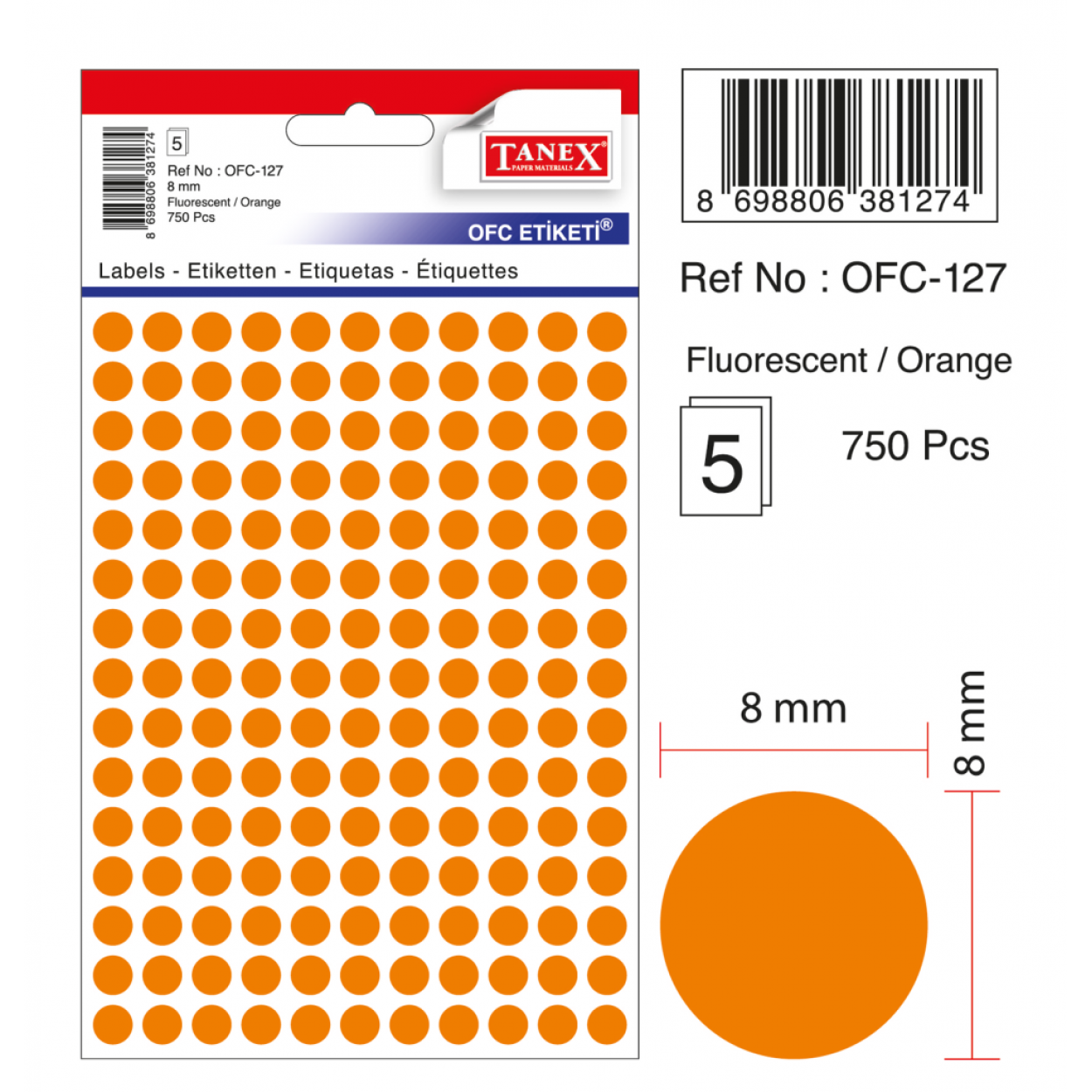 Tanex Ofc-127 Flo Turuncu Ofis Etiketi