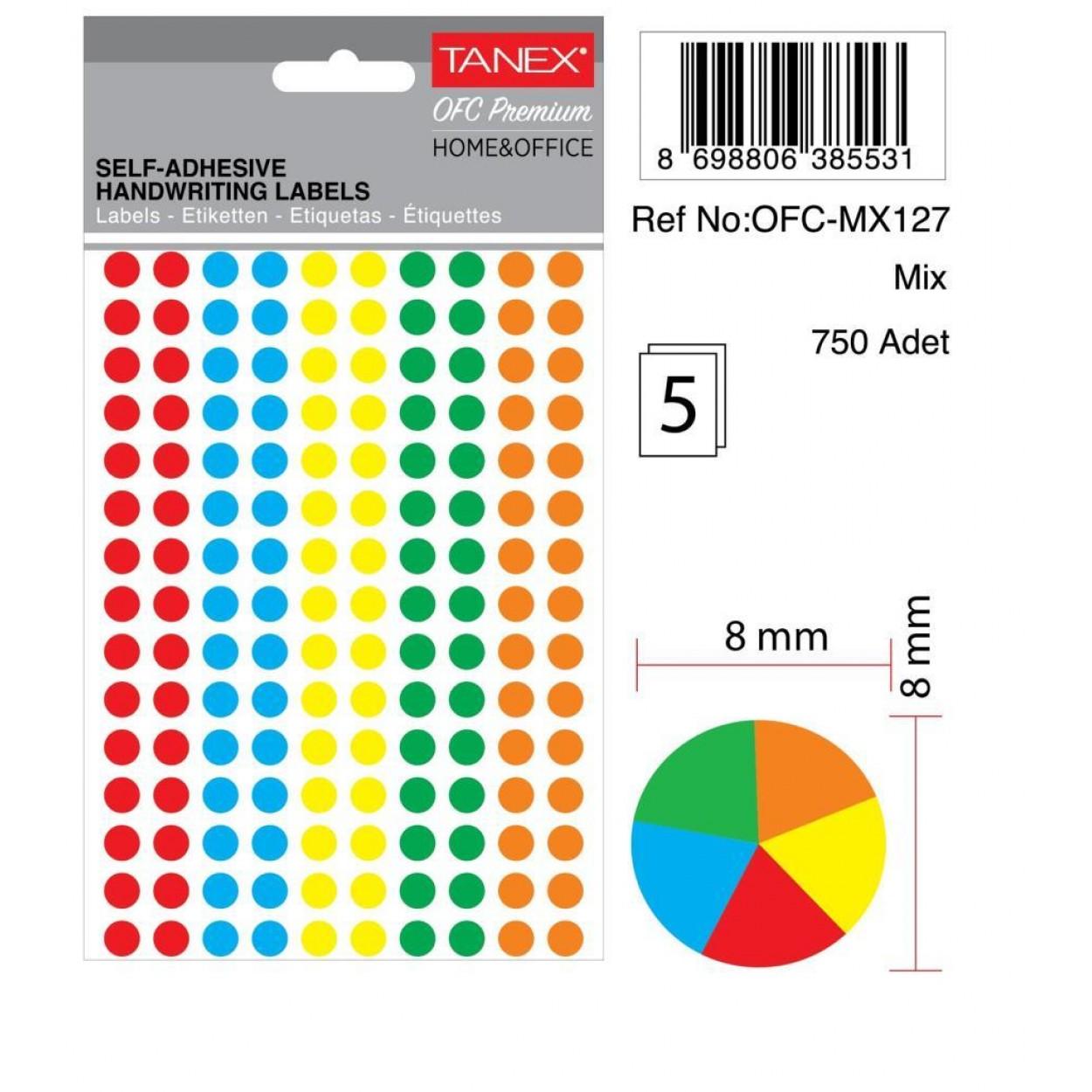 Tanex Ofc-127 Mıx Color Ofis Etiketi 8mm 750 Adet