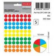 Tanex Ofc-128 Mıx Color Ofis Etiketi 10mm 540 Adet