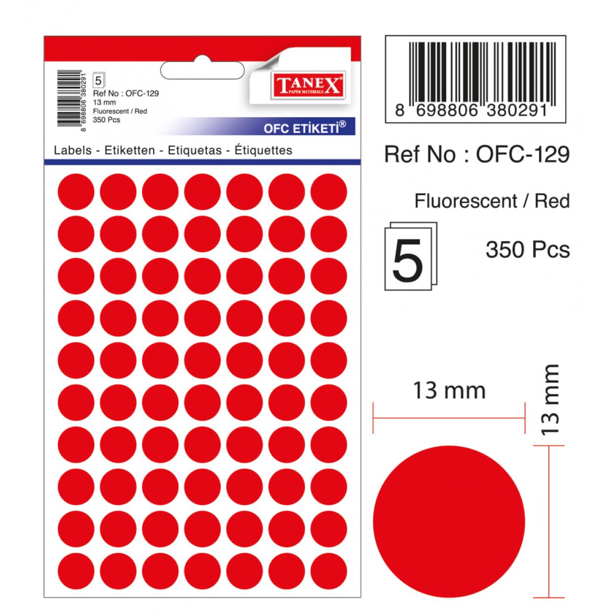 Tanex Ofc-129 Flo Kırmızı Ofis Etiketi