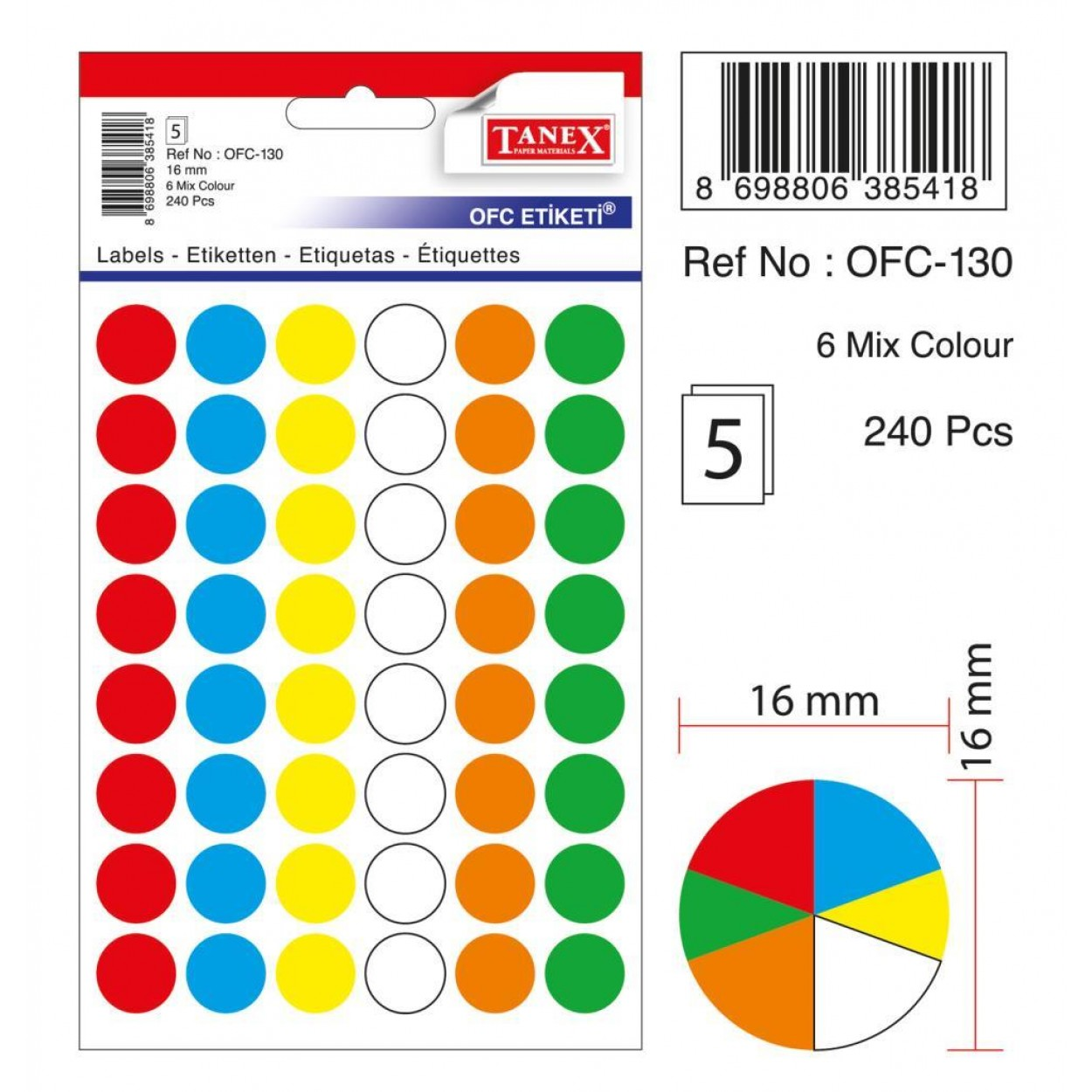 Tanex Ofc-130 Mıx Color Ofis Etiketi 16mm 240 Adet
