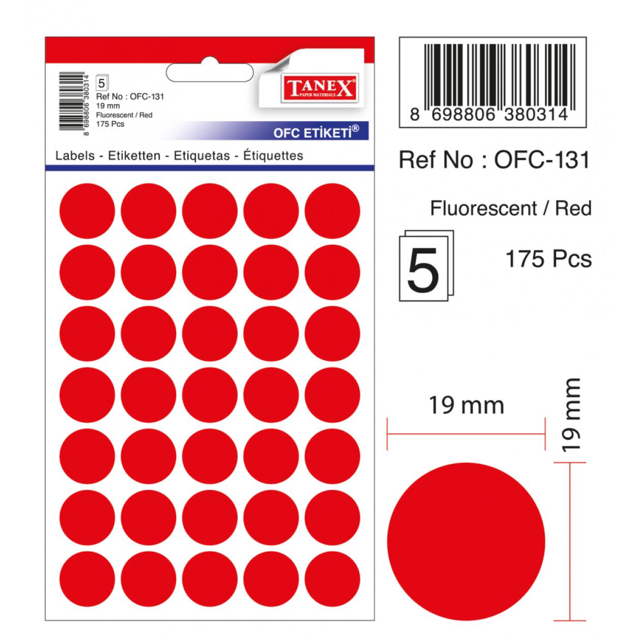 Tanex Ofc-131 Flo Kırmızı Ofis Etiketi