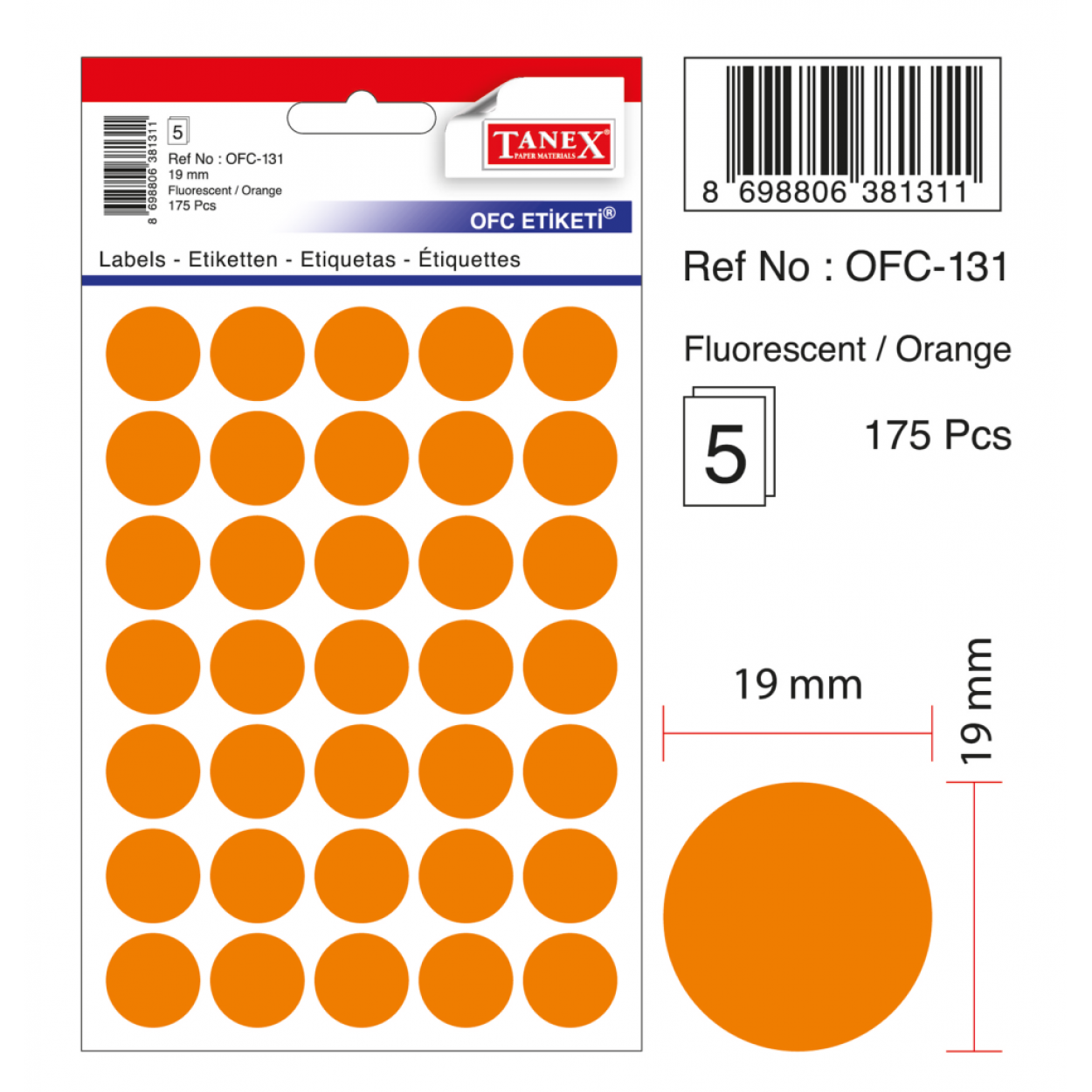 Tanex Ofc-131 Flo Turuncu Ofis Etiketi