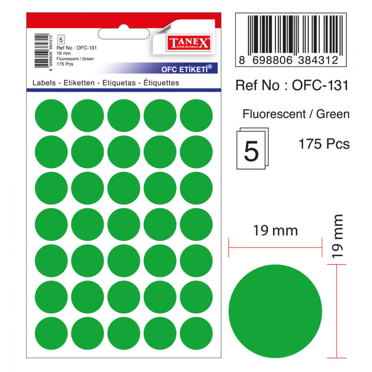 Tanex Ofc-131 Flo Yeşil Ofis Etiketi