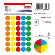Tanex Ofc-131 Mıx Color Ofis Etiketi 19mm 175 Adet
