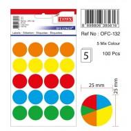 Tanex Ofc-132 Mıx Color Ofis Etiketi 25mm 100 Adet