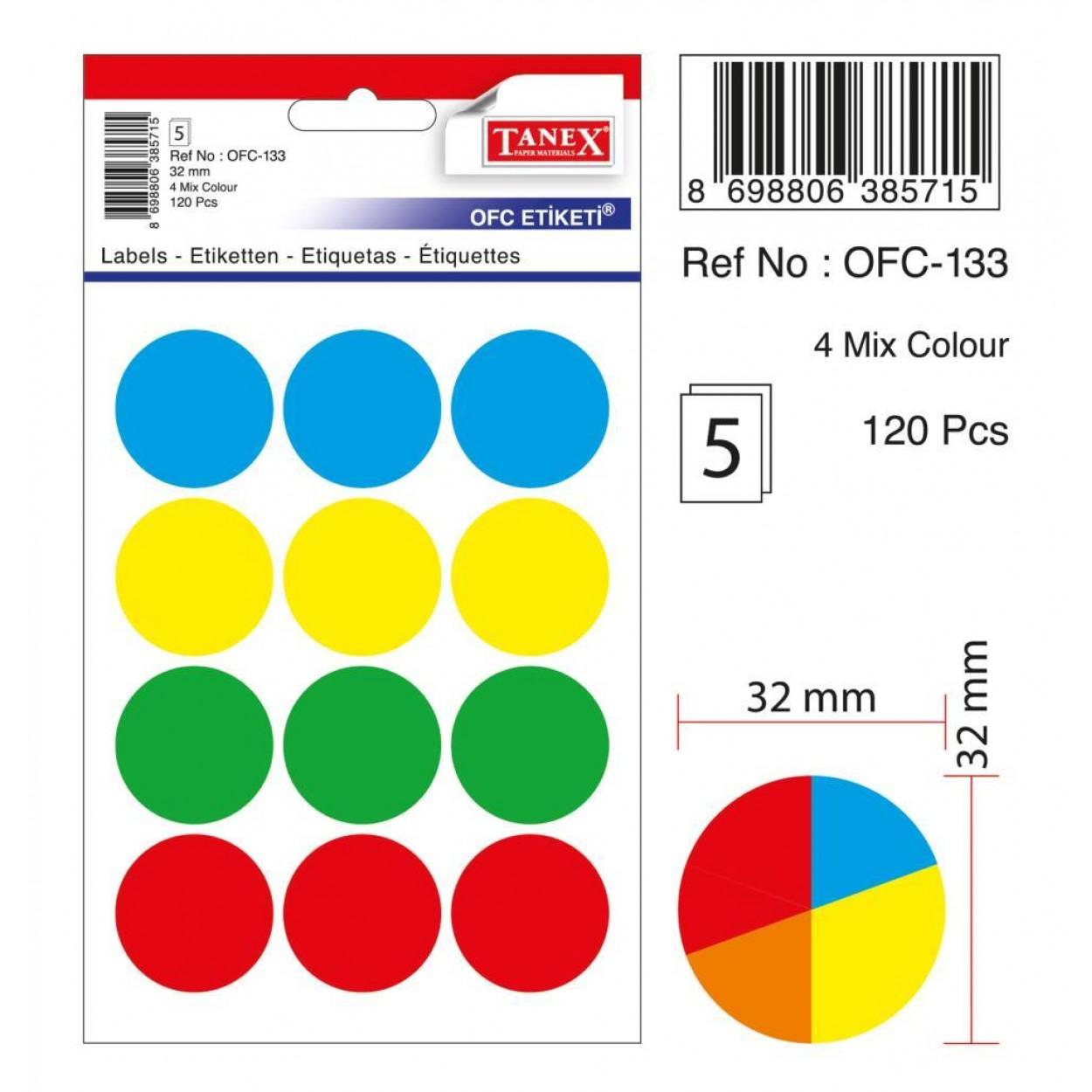 Tanex Ofc-133 Mıx Color Ofis Etiketi 30mm 60 Adet