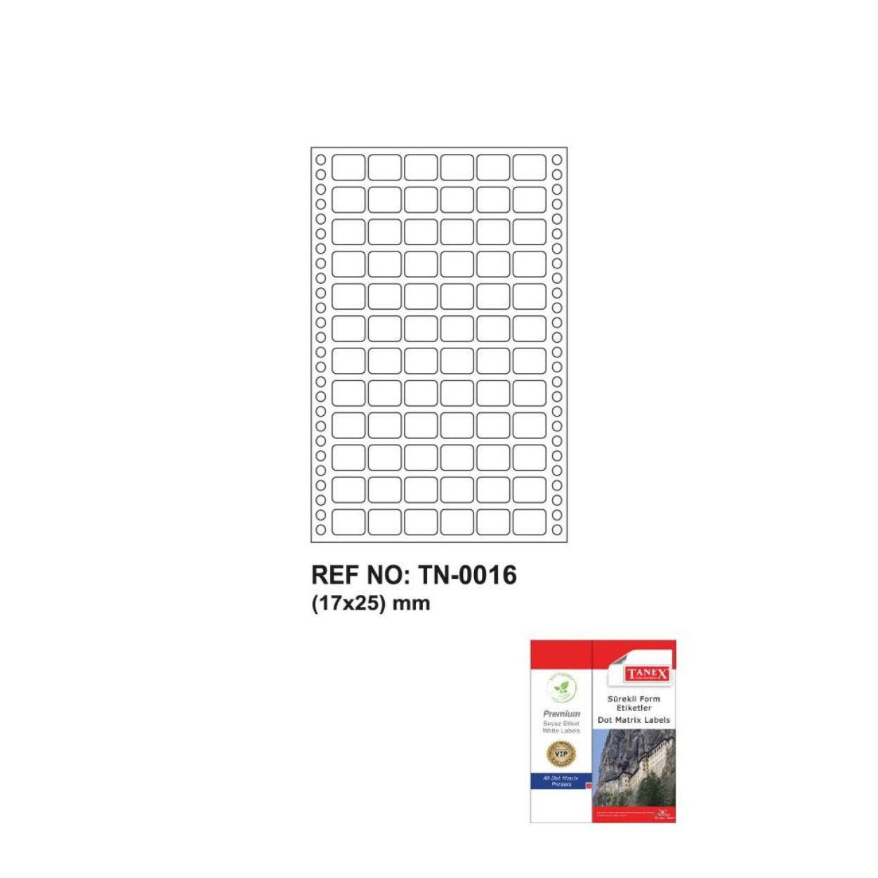 Tanex Tn-0016 Sürekli Form Etiketi 17x25mm
