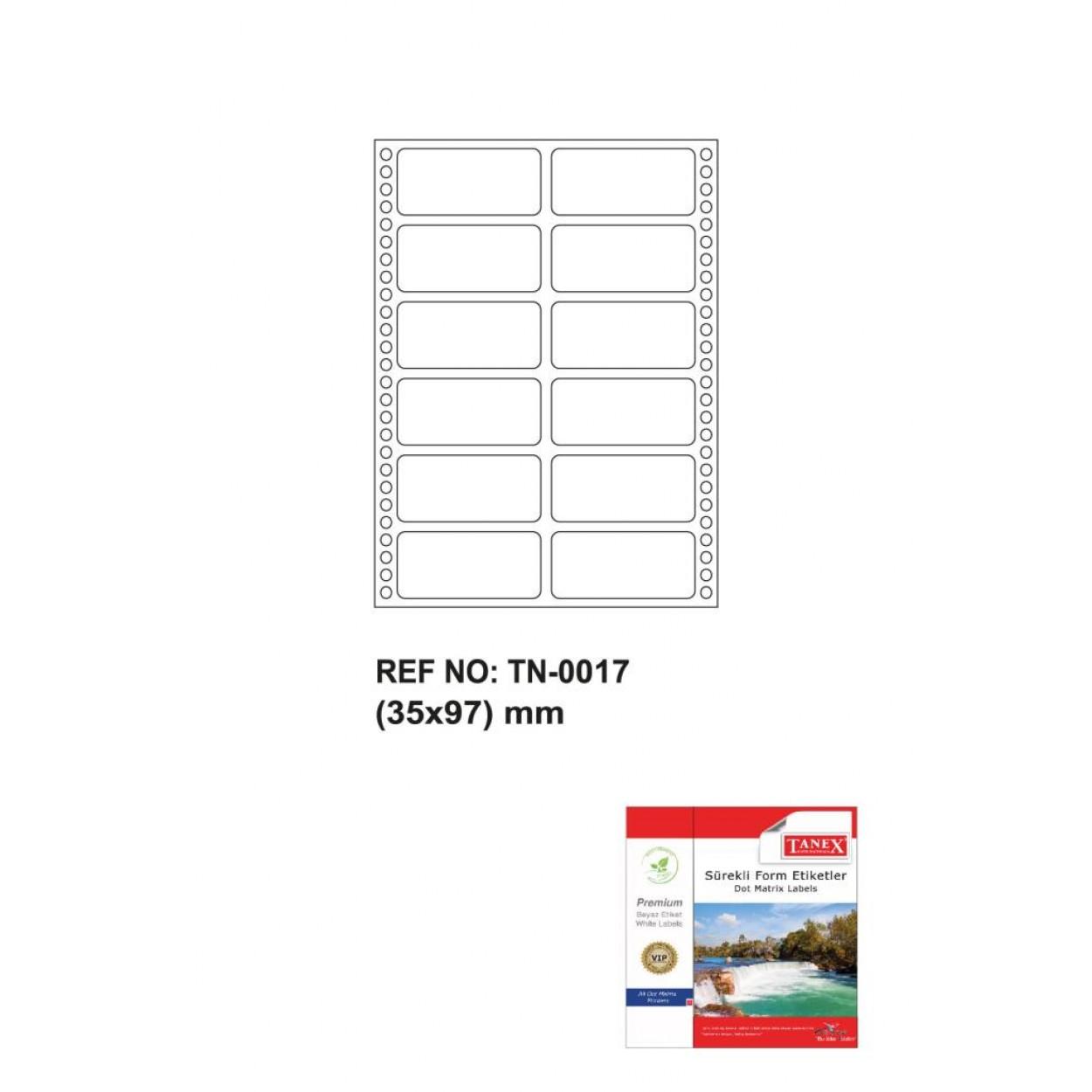 Tanex Tn-0017 Sürekli Form Etiketi 35x97mm