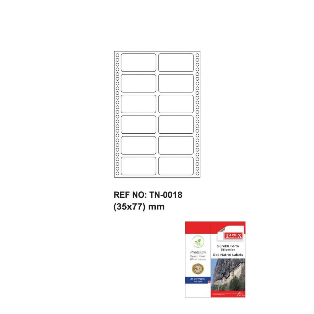 Tanex Tn-0018 Sürekli Form Etiketi 35x77mm
