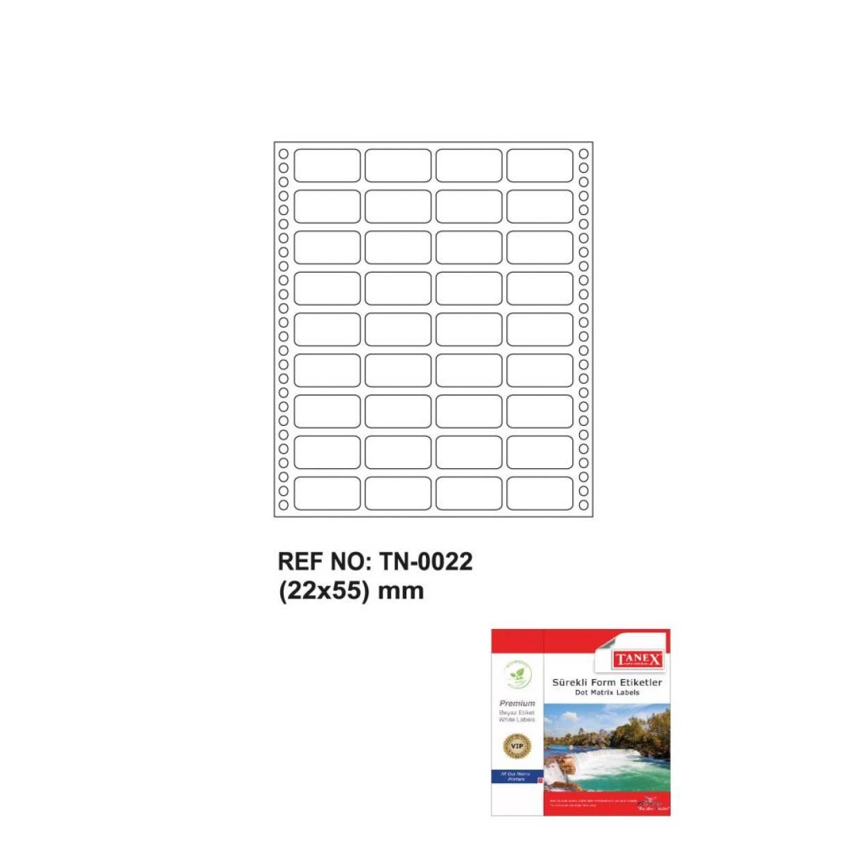 Tanex Tn-0022 Sürekli Form Etiketi 22x55mm