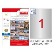 Tanex TW-2000 210x297mm Gümüş Lazer Etiket 25 Li