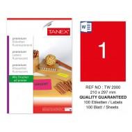 Tanex TW-2000 210x297mm Kırmızı Floresan Laser Etiket 100 Lü
