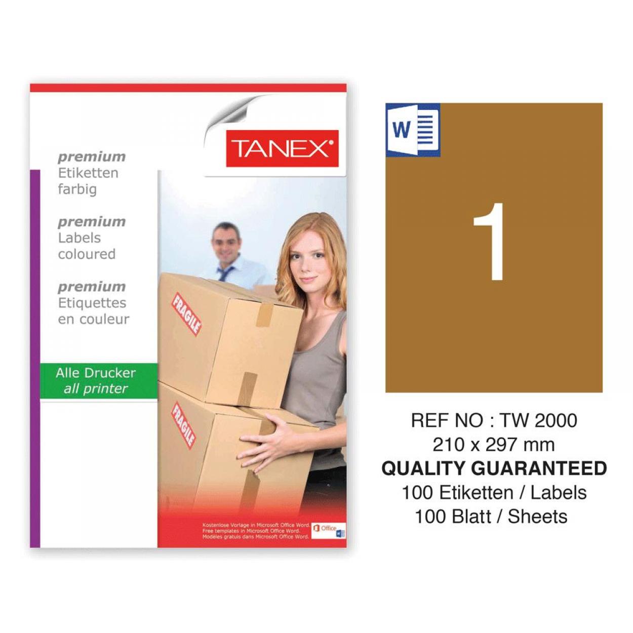 Tanex TW-2000 210x297mm Kraft Etiket 100 Lü Paket