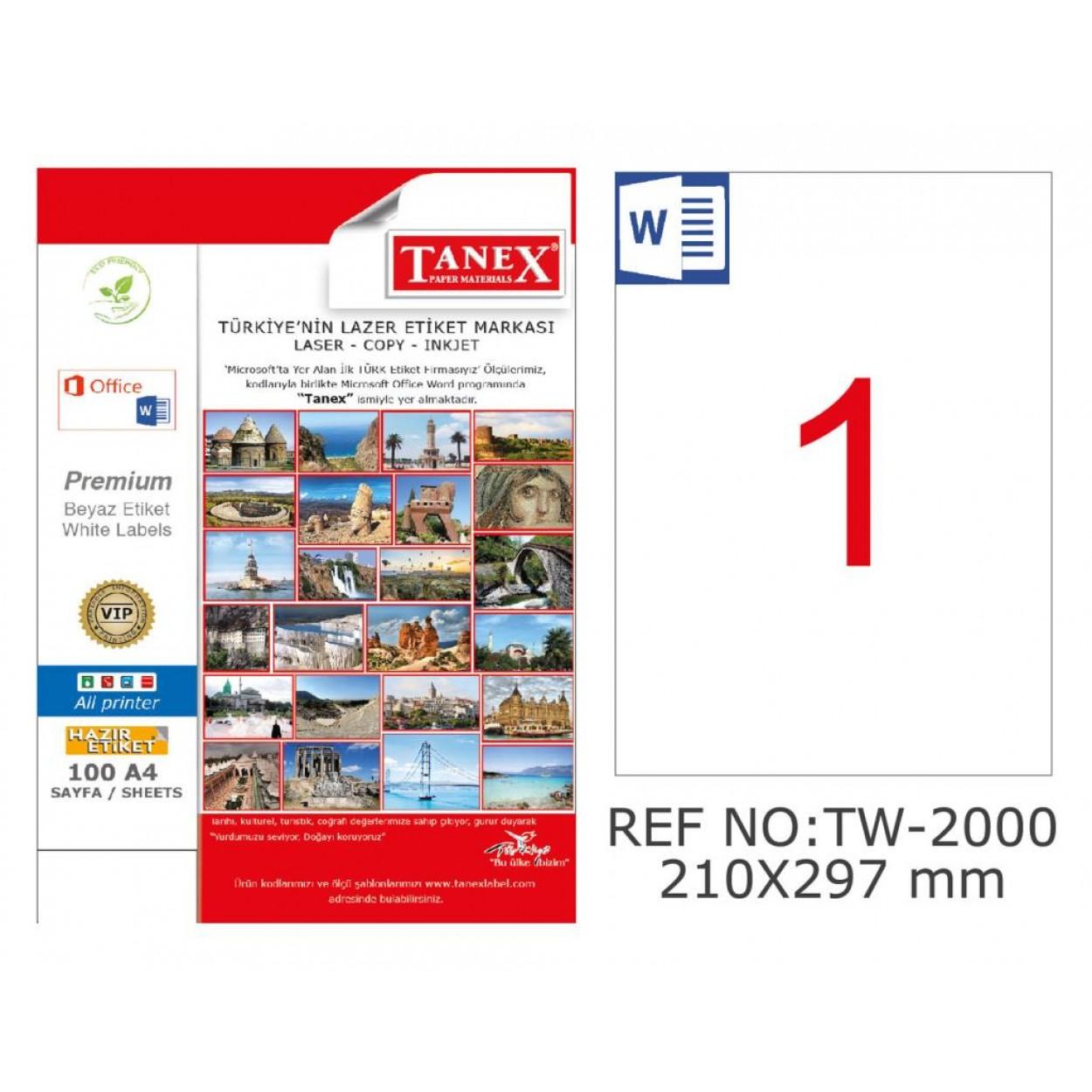 Tanex TW-2000 210x297mm Kuşe Laser Etiket 100 Lü