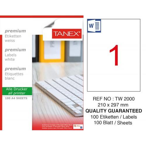 Tanex TW-2000 210x297mm Laser Etiket 100 Lü