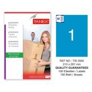 Tanex TW-2000 210x297mm Mavi Pastel Laser Etiket 100 Lü