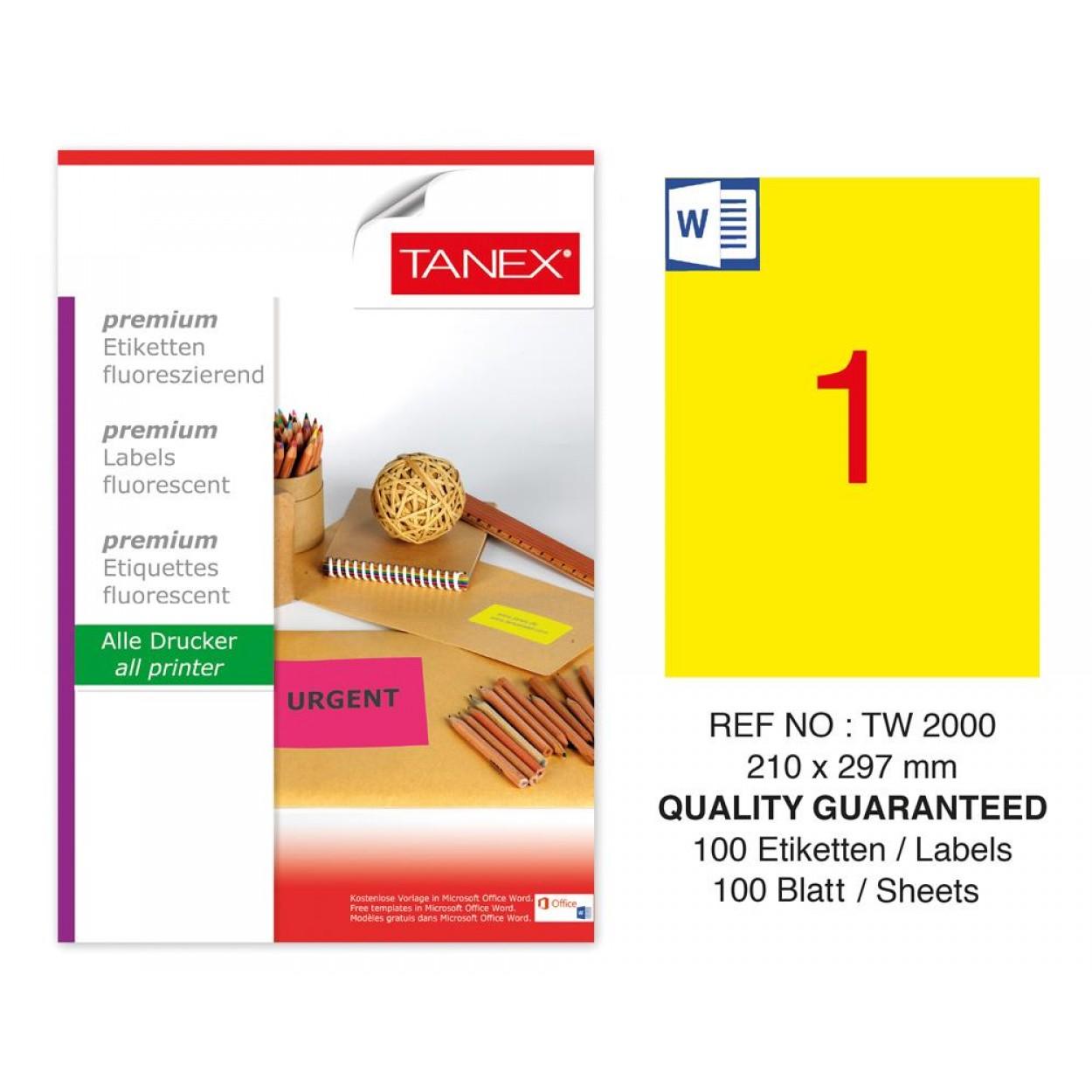 Tanex TW-2000 210x297mm Sarı Floresan Laser Etiket 100 Lü