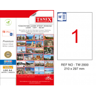 Tanex TW-2000 210x297mm Sökülebilir Etiket 100 Lü
