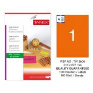 Tanex TW-2000 210x297mm Turuncu Floresan Laser Etiket 100 Lü