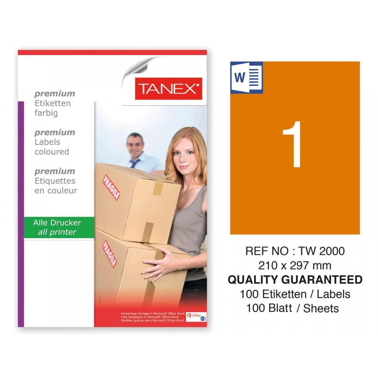 Tanex TW-2000 210x297mm Turuncu Pastel Laser Etiket 100 Lü