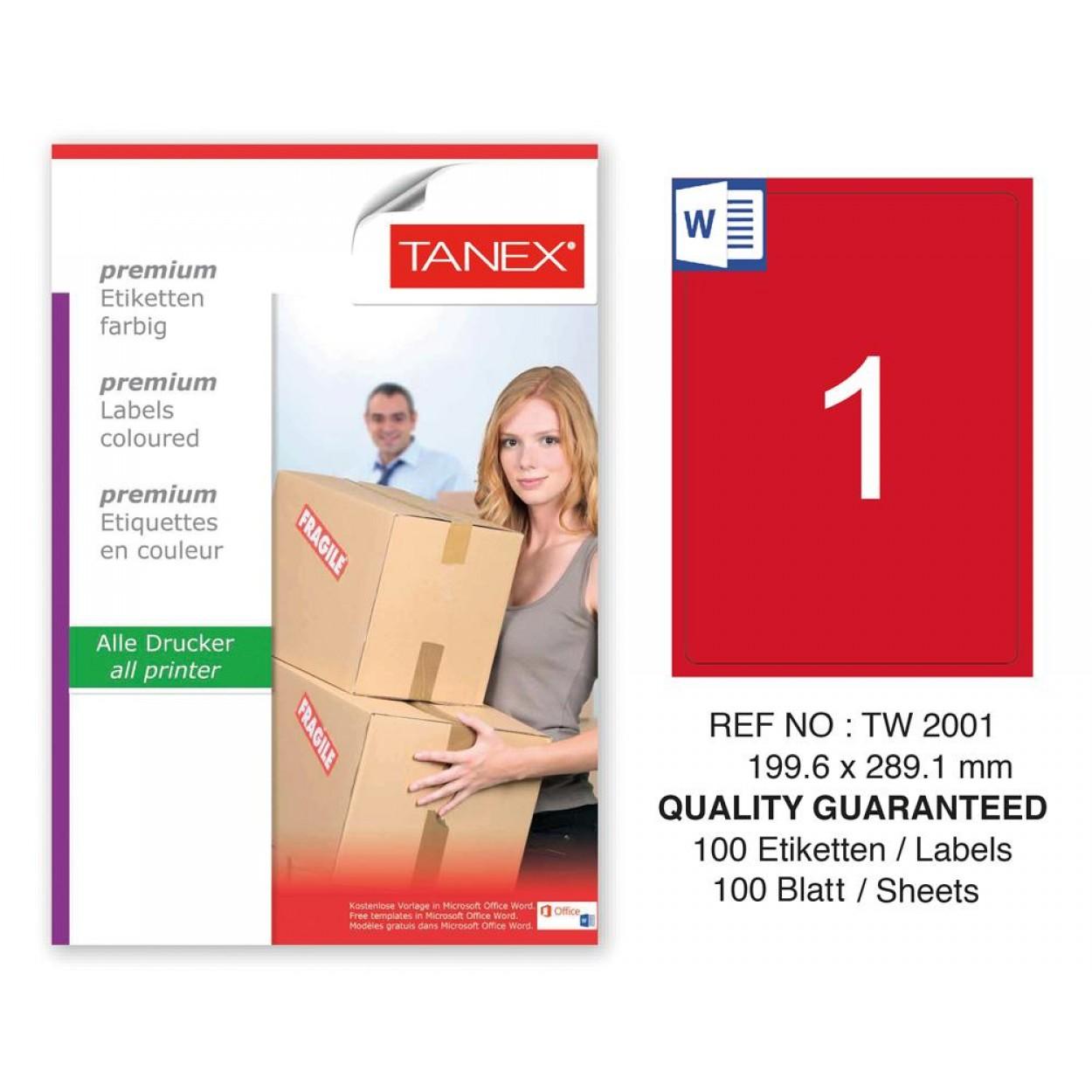 Tanex TW-2001 199,6x189,1mm Kırmızı Pastel Laser Etiket 100 Lü
