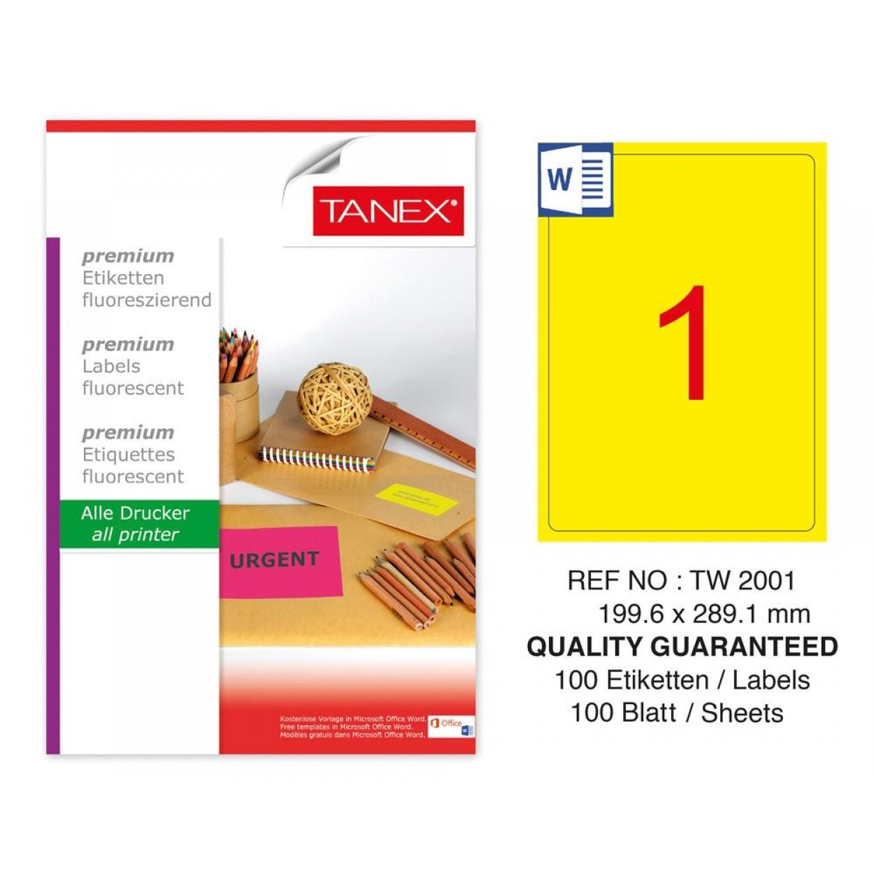 Tanex TW-2001 199,6X289,1 mm Sarı Floresan Laser Etiket 100 Lü