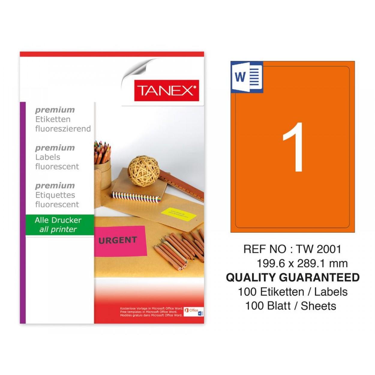 Tanex TW-2001 199,6x289,1 mm Turuncu Floresan Laser Etiket 100 Lü