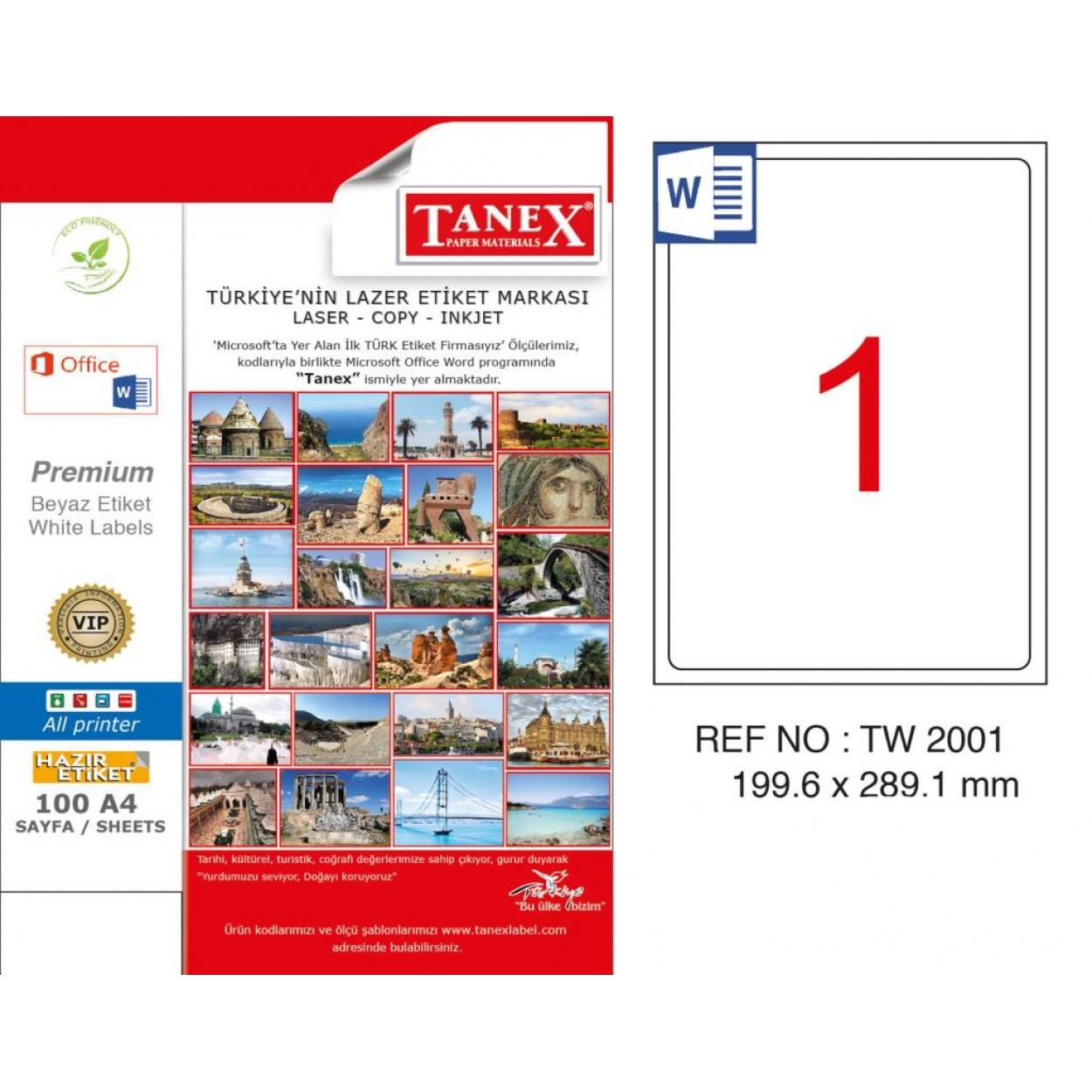 Tanex TW-2001 199.6x289.1mm Kuşe Laser Etiket 100 Lü