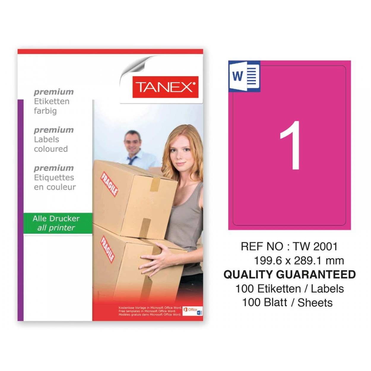 Tanex TW-2001 199,6x289,1mm Pembe Pastel Laser Etiket 100 Lü