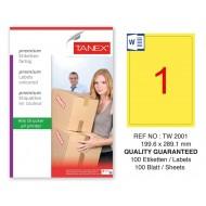 Tanex TW-2001 199,6x289,1mm Sarı Pastel Laser Etiket 100 Lü