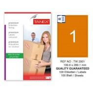 Tanex TW-2001 199,6x289,1mm Turuncu Pastel Laser Etiket 100 Lü