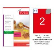 Tanex TW-2002 199.6x143,5 mm Kırmızı Floresan Laser Etiket 100 Lü