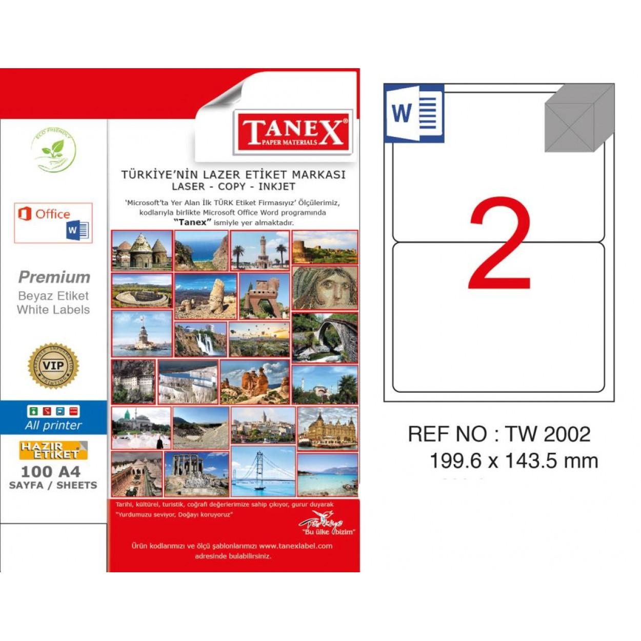 Tanex TW-2002 199,6x143,5 mm Kuşe Laser Etiket