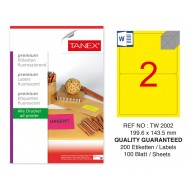 Tanex TW-2002 199,6x143,5 mm Sarı Floresan Laser Etiket 100 Lü