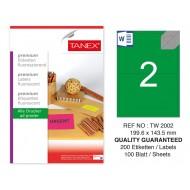 Tanex TW-2002 199,6x143,5 mm Yeşil Floresan Laser Etiket 100 Lü